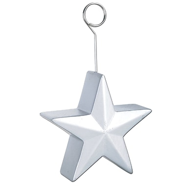Beistle 6 oz. Star Photo/Balloon Holder, Silver, 3/Pack