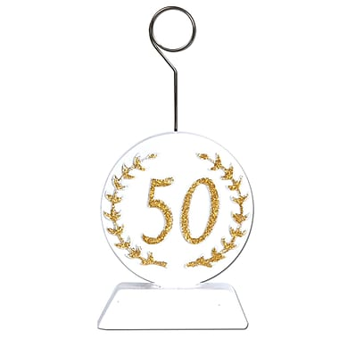 Beistle 6 oz. Glittered 50 Photo/Balloon Holder, Gold/White, 3/Pack