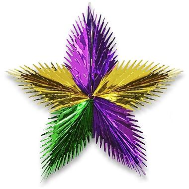 Étoile à feuilles, 24 po, vert/doré/violet, paq./3