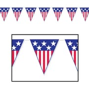 "Beistle 10"" x 12' Spirit Of America Pennant Banner, Red/White/Blue, 4/Pack"