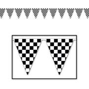 "Beistle 10"" x 12' Checkered Pennant Banner, Black/White, 4/Pack"