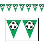 """Beistle 10"""" x 12' Soccer Ball Pennant Banner, Green/Black/White, 4/Pack"""