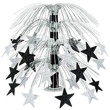 Centre de table en cascade d'étoiles, 18 po, noir et argenté, 4/paquet
