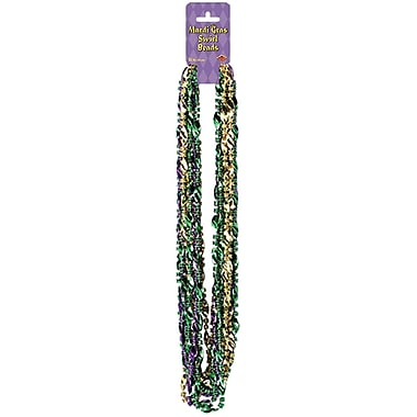 Perles à tourbillons de Mardi Gras , 33 po, paq./36