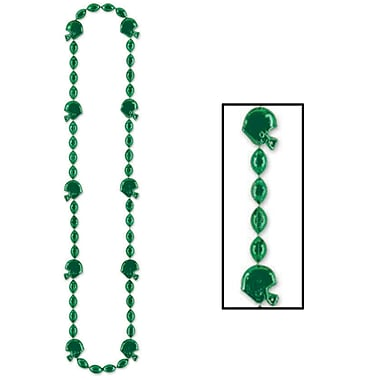 Colliers de perles de football, 36 po, verts, 6/paquet