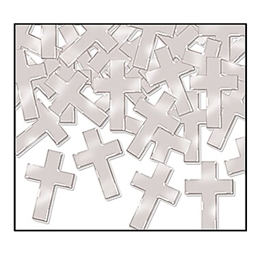 Beistle Crosses Fanci Confetti, Silver, 5/Pack