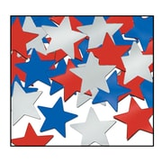 Beistle Stars Fanci Confetti, Red/Silver/Blue, 5/Pack