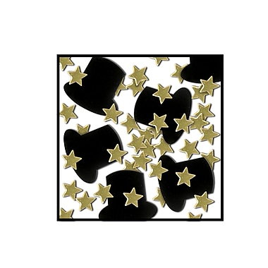 Fanci-Fetti Top Hats & Mini Stars, Gold, 5/Pack