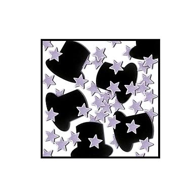 Fanci-Fetti Top Hats & Mini Stars, Silver, 5/Pack