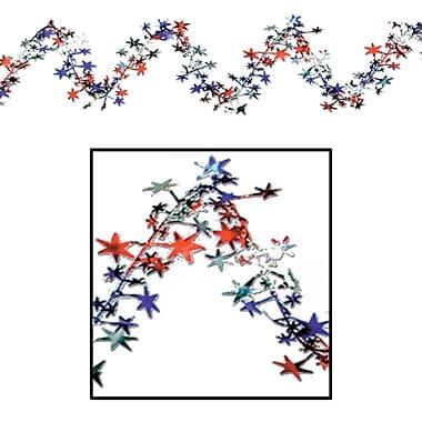 Beistle 25' Gleam 'N Flex Star Garland, Red/Silver/Blue, 4/Pack