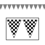 """Beistle 17"""" x 30' Checkered Outdoor Pennant Banner, Black/White, 2/Pack"""