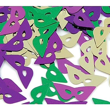 Fanci-Fetti Mardi Gras Masks, Contains Total Of 5 Ounces, Green/Gold/Purple, 5/Pack