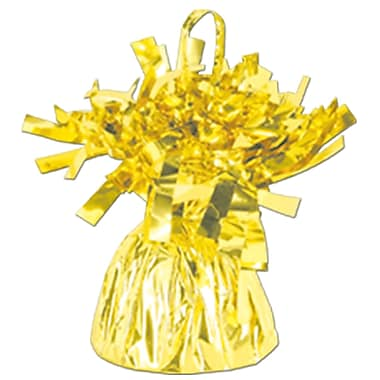 Metallic Wrapped Balloon Weight, Each Photo/Balloon Weight Weighs 6 Ounces, Yellow Cellophane, 14/Pack