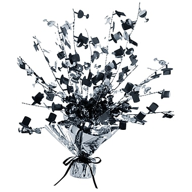 Centre de table en verres à champagne et chapeaux, 15 po, noir et argenté, paq./4
