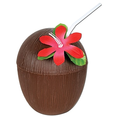 Beistle 16 oz. Coconut Cup, Brown, 4/Pack