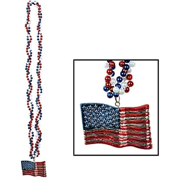 Beistle Braided Beads Necklace With American Flag Medallion, 36