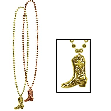 Beads With Cowboy Boot Medallion, 33