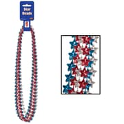 "Beistle Star Beads Necklace, 33"", Red/Silver/Blue"