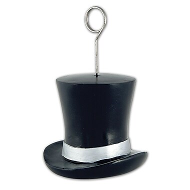 Top Hat Photo/Balloon Holder, Black/Silver, 3/Pack