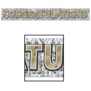 """Beistle 8"""" x 5' Congratulations Fringe Banner, Gold/Silver, 4/Pack"""