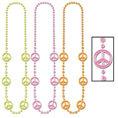 Neon Peace Sign Beads, 36