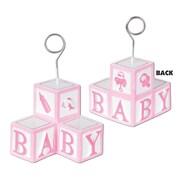 Beistle 6 oz. Baby Blocks Photo/Balloon Holder, Pink, 3/Pack