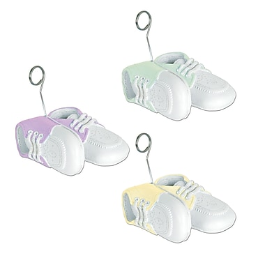 Assorted Colour Baby Shoes Photo/Balloon Holders, 6/Pack