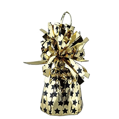 Printed Balloon Weight, Stars, Black/Gold, 8/Pack