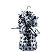 Beistle 6 oz. Printed Stars Balloon Weights, Black/Silver, 8/Pack