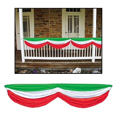 Banderole en tissu, 5 pi 10 po, rouge/blanc/vert