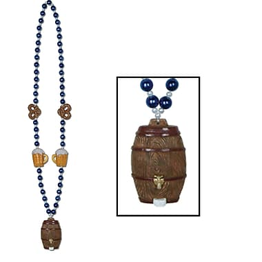 Beistle Oktoberfest Beads Necklace With Keg Medallion, 40