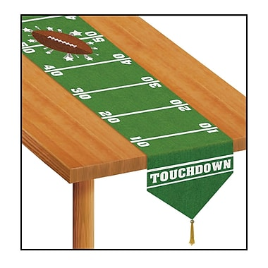Chemin de table imprimé avec dessin de terrain de football, 11 po x 6 pi, 4/paquet