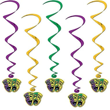 Mardi Gras Icons On Green/Gold/Purple Whirls, 3', 15/Pack