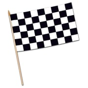 Beistle 11 x 18 Rayon Checkered Flag, Black/White, 6/Pack