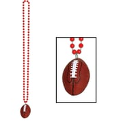 Beistle Beads Necklace With Football Medallion, 33, Red