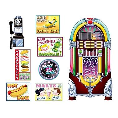 Affiches cantine et accessoires juke-box, 11 pi x 5 po, 16 accessoires variés