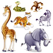 "Beistle 15"" - 5' 3"" Jungle Animal Props, 12/Pack"