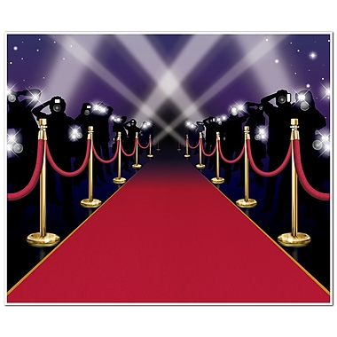 Beistle 5' x 6' Red Carpet InstaMural Wall Decoration, 2/Pack