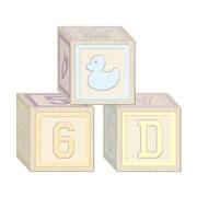 "Beistle 3 1/4"" x 3 1/4"" Baby Blocks Favor Box, 12/Pack"
