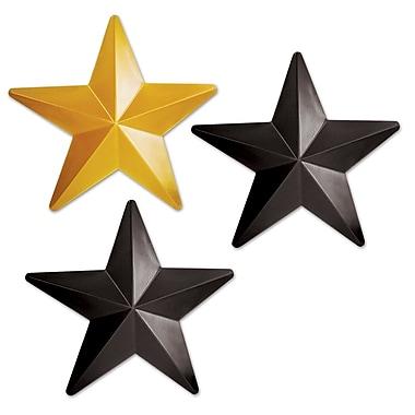 Étoiles en plastique, 12 1/4 po, noir et doré, paquet de 6