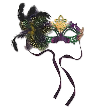 Metal Filigree Masquerade Mask, One Size Fits Most, Green/Gold/Purple