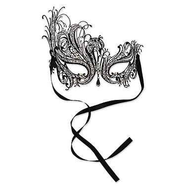 Metal Filigree Masquerade Mask With Dangling Gem, One Size Fits Most