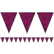 "Beistle 10"" x 12' Zebra Print Pennant Banner, Cerise/Black, 4/Pack"
