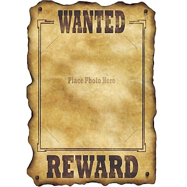 Affiche « Wanted » western, 17 po x 12 po, 9/paquet
