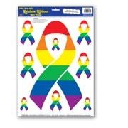 "Beistle 12"" x 17"" Ribbons Peel 'N Place Sticker, Rainbow, 12/Pack"