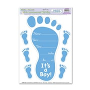 Beistle 12 x 17 Birth Announcement Peel 'N Place Sticker, Light Blue, 4/Pack