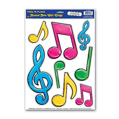 Autocollants notes musicales fluorescentes, 12 po x 17 po, 4 feuilles