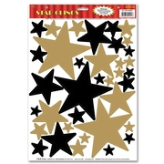 "Beistle 12"" x 17"" Star Clings, Black/Gold, 252/Pack"