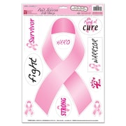 """Beistle 12"""" x 17"""" Ribbons Peel 'N Place Sticker, Pink, 12/Pack"""