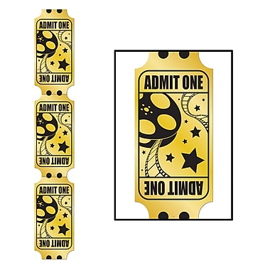 Jointed Foil Golden Ticket Pull-Down Cutout, 6', 2/Pack